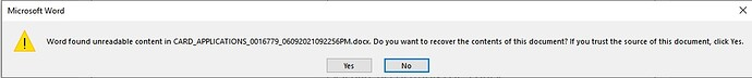 WORD ERROR MESSAGE WHEN OPENING GENERATED DOCUMENT FROM PLATFORM