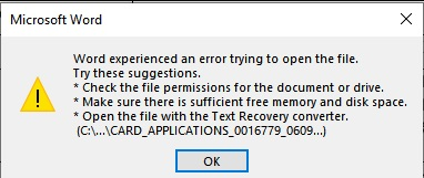 WORD ERROR MESSAGE WHEN OPTING TO OPEN DOCUMENT AS SAFE