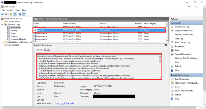 Install Orchestrator 2019.10; And then stuck at login page and found error Current user did not login to the application! in Event Viewer (2)