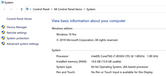 My computer information