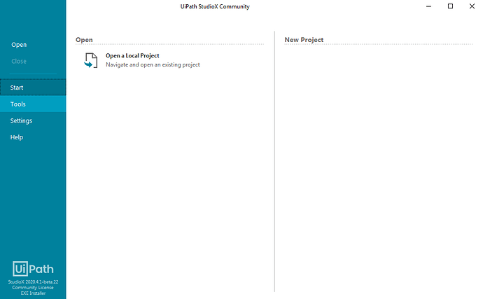 New project section empty
