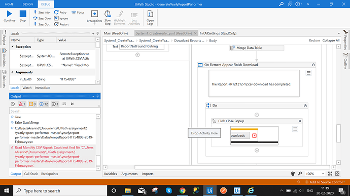 issue while running assignment 2 in uipath
