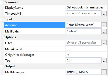 Get Outlook Mail Messages Activity Uipath