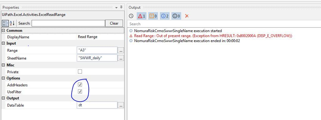 Read range inside application scope with using filters fails