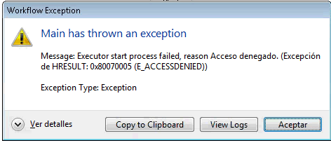 For any workflow i'm getting the error: