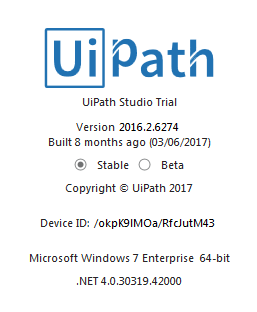 uipath version