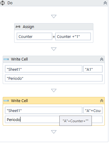 Write variable text in Excel cells, one by one with COUNTER - RPA