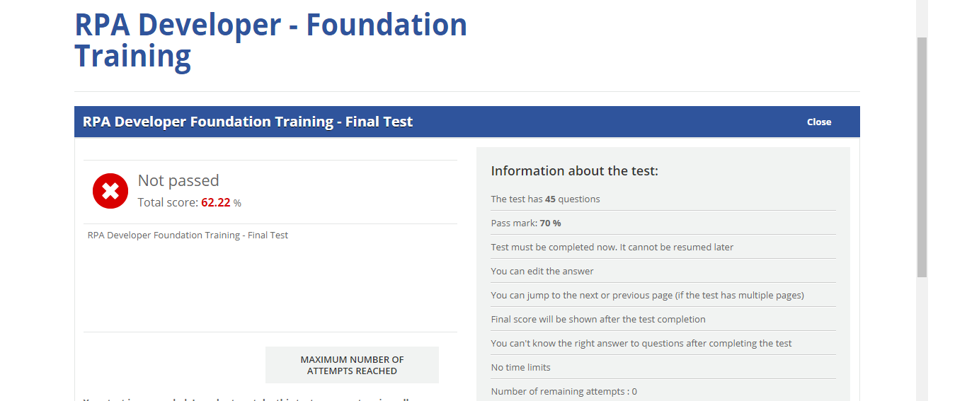 Rpa Developer Foundation Training Final Test - The Best Developer Images