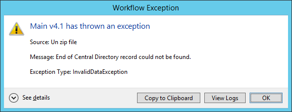 Extract zip archive error: end of central directory record