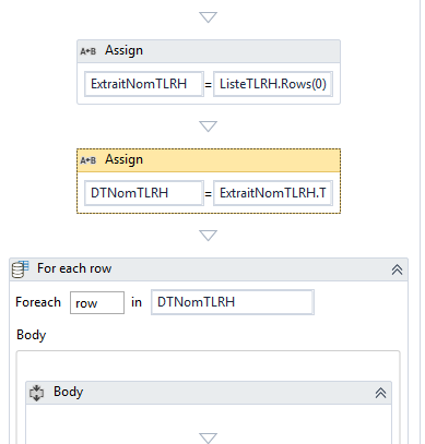 Using for each loop in DataTable rows collection - RPA Dev