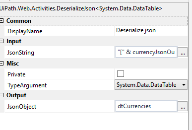How to parse JSON object and sub JSON object of currency API - RPA
