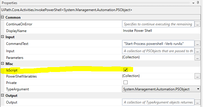 While running powershell using invoke activity it throws exception