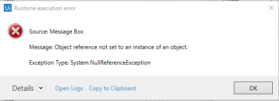 DataTable with Error NullReferenceException - RPA Dev Rookies