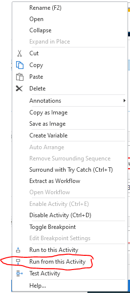 UIPath right click menu with highlight