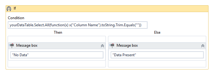 How to check if a particular column is empty in DataTable (Without