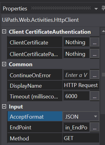 How can I GET JSON and not XML in output of http Request