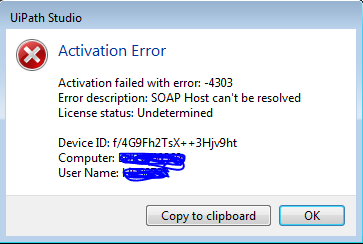uipath community edition error connecting to activation server