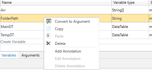 Variable to argument - right click not available? - RPA Dev Rookies