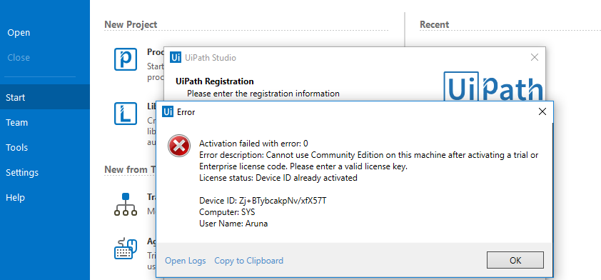 Error while trying to activate UiPath Studio Community