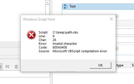 error for vbs