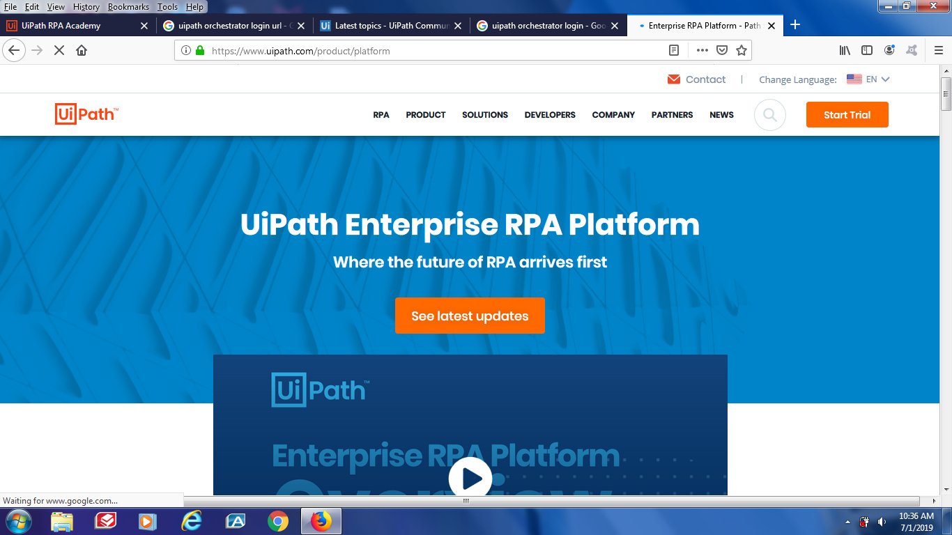 Change to Login from Start Trail throught out the UIPath website