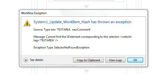 System1 update hash workitem is throwing error for comments field in