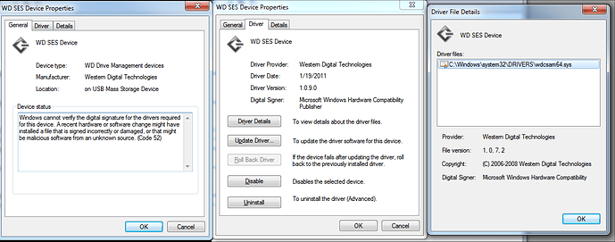 wd ses device usb drivers